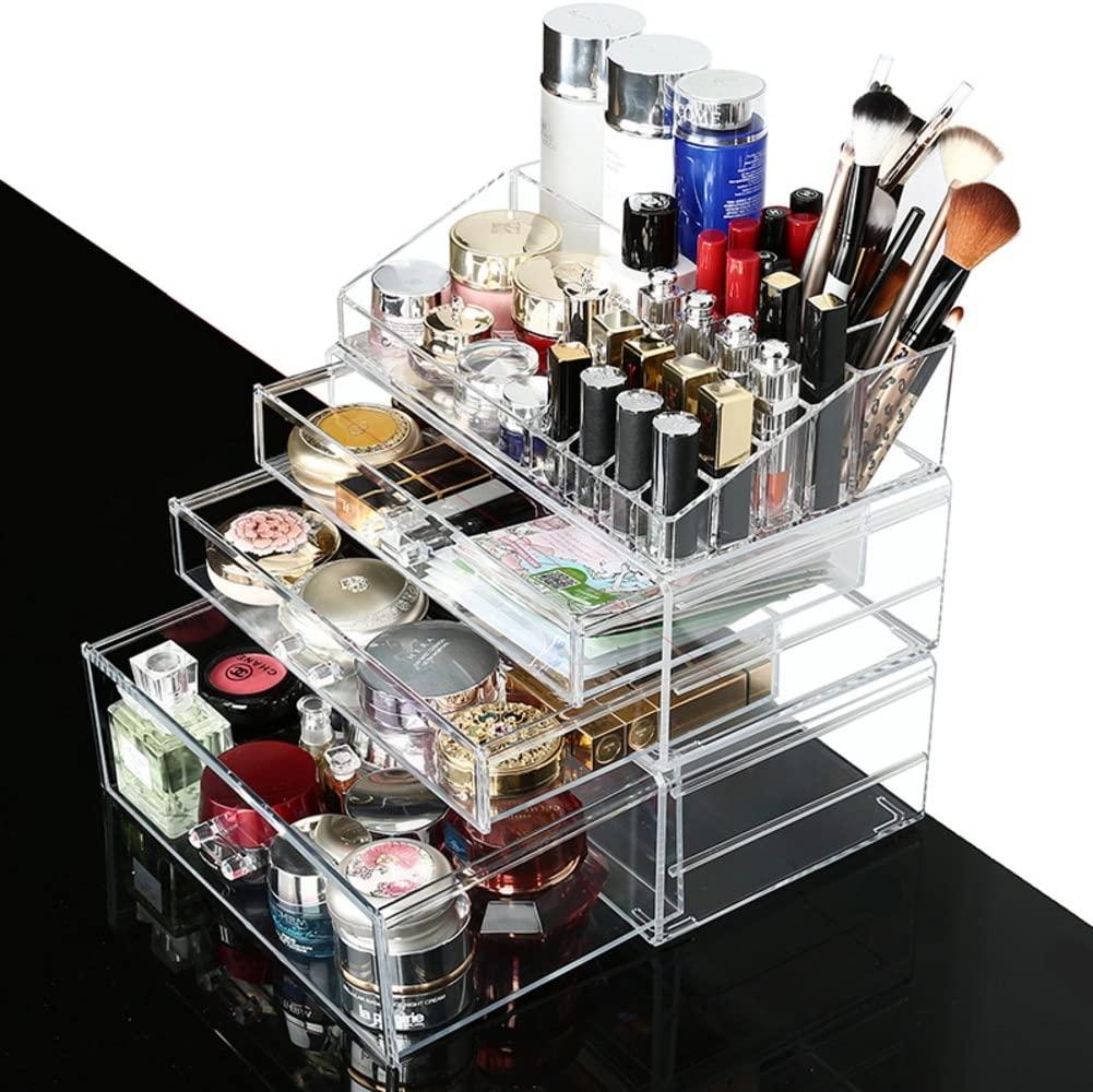 DE&GK Extra large transparent cosmetic storage box, Desktop and drawer arrangement box-F