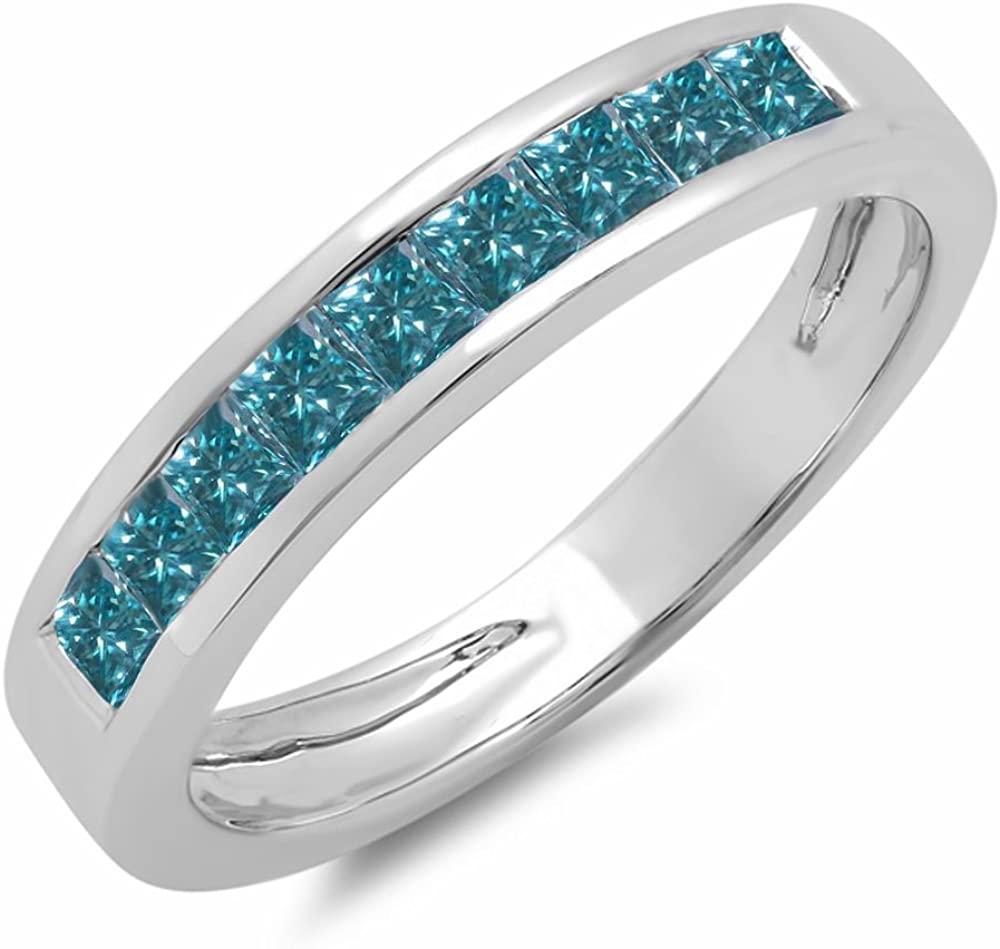 0.75 Carat (ctw) 10K Gold Princess Blue Diamond Ladies Wedding Band Stackable Ring 3/4 CT