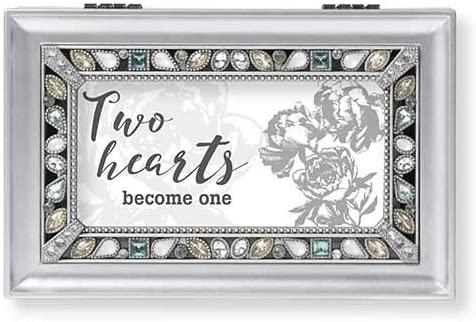 Roman Music Box Two Hearts Silver Box Wedding Collection Plays Clair De Lune