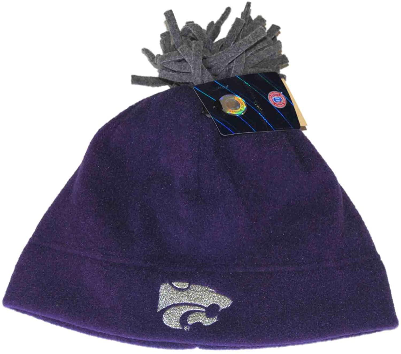 GS II Kansas State Wildcats Purple Fleece Skull Winter Cap Hat Beanie