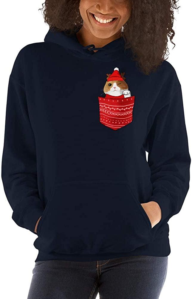 Santa Cat in Pocket Christmas Unisex Hoodie