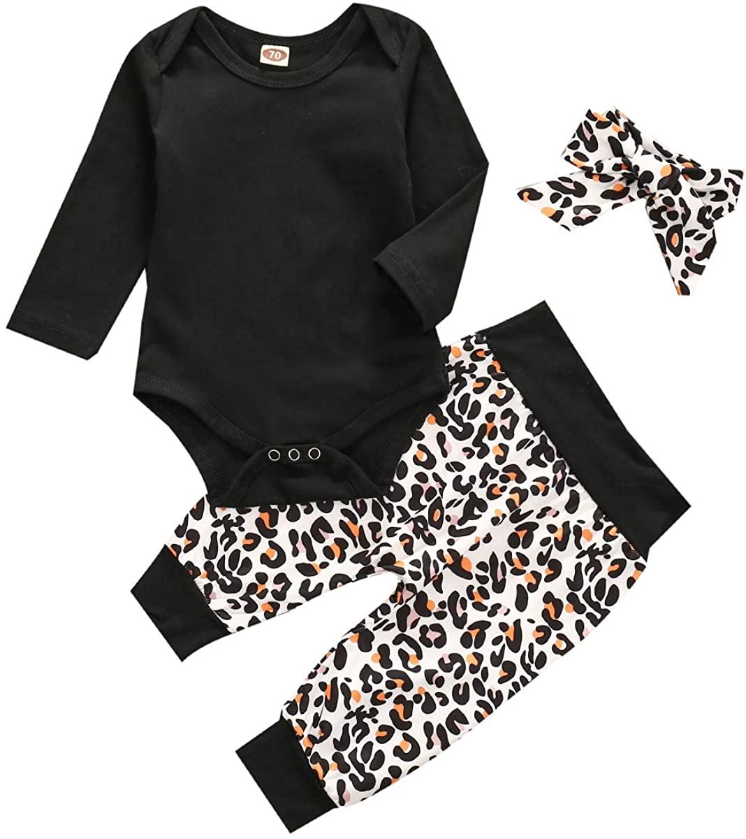 Aixin 3PCS Infant Baby Girls Clothes Long Sleeve Romper Bodysuit Leopard Long Pants Headband Outfits 0-24M