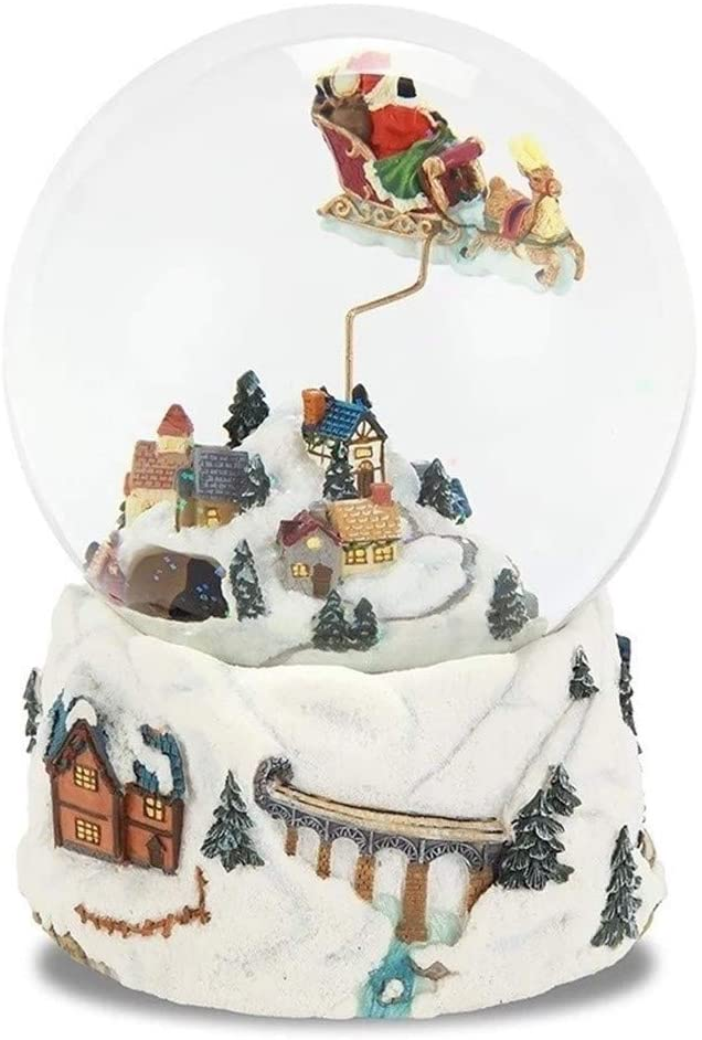 Musical Boxes Home Decorative Music Box Figurines 1216.5CM Santa Sleigh Snow Globe Crystal Ball Music Box Craft Home Desktop Decoration Wedding Christmas New Year Gifts Musical Boxes
