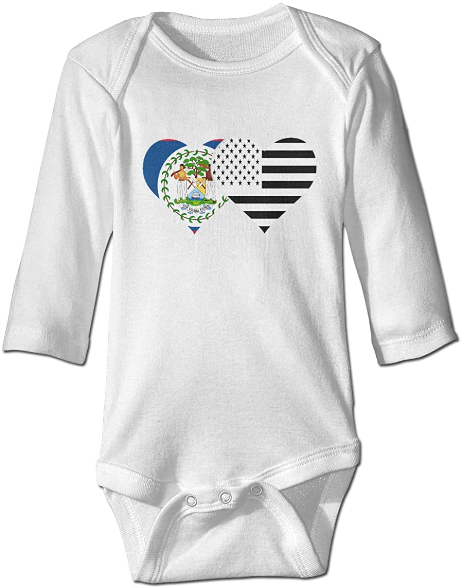 YOIGNG Belize Flag and American Flag Unisex Baby Bodysuit Infant Cotton Outfits Long Sleeve Jumpsuit