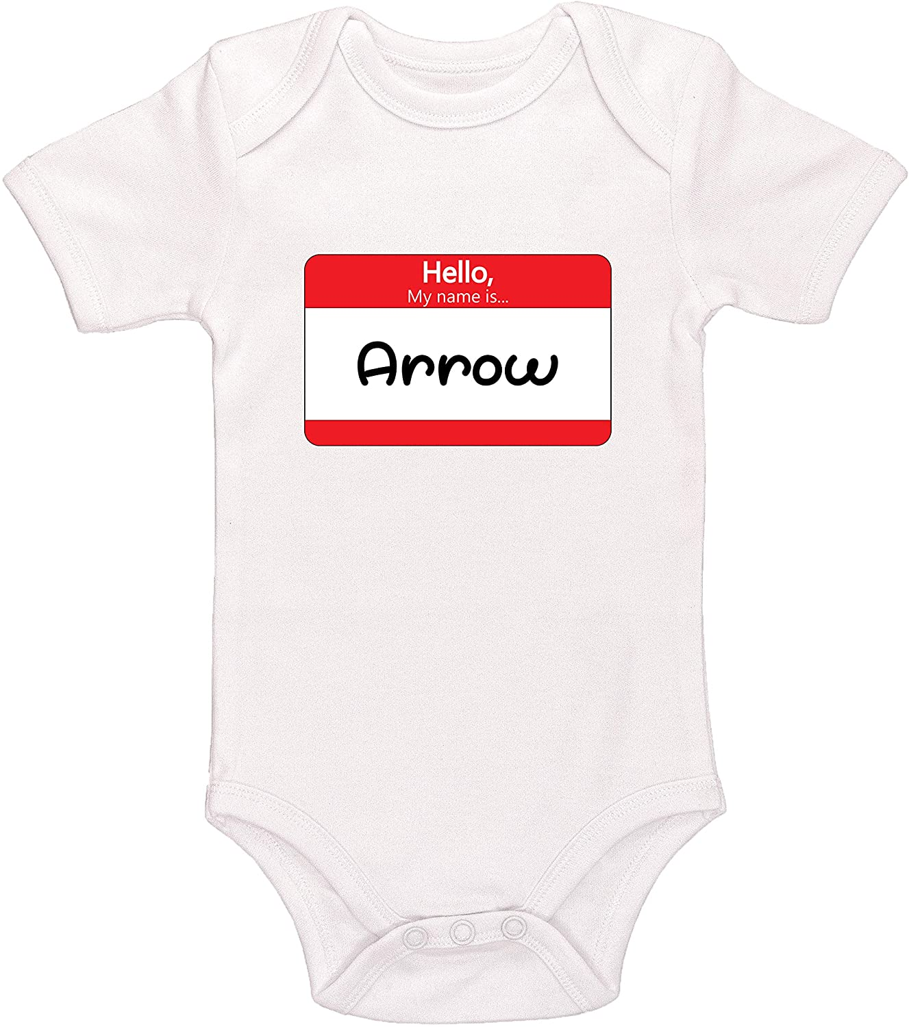Kinacle Hello My Name is Arrow Personalized Baby Bodysuit