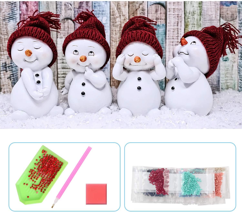 UPINS 5D DIY 20 x12 Inch Christmas Snowman Full Drill Rhinestone Diamond Painting Kits for Home Décor