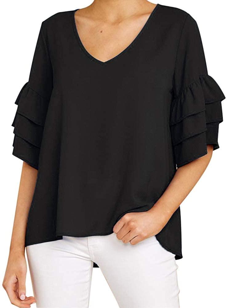 Joteisy Women's Ruffle Sleeve V Neck Blouse Classic Half Sleeves Tops