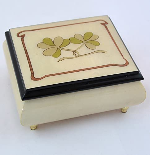 Made in Italy Sorrento Ercolano High Gloss Music Box with Two Shemrocks - Somewhere Out There (Sankyo 18-Notes)
