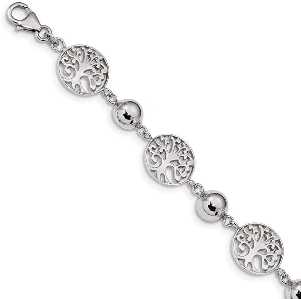 Solid 925 Sterling Silver Round Tree and Circle 1in Extension Bracelet - with Secure Lobster Lock Clasp 7