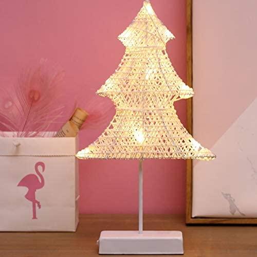 Soft Ever ST Christmas Tree Shape Rattan Romantic LED Holiday Light with Holder, Warm Fairy Decorative Lamp Night Light for Christmas, Wedding, Bedroom. SE-FT