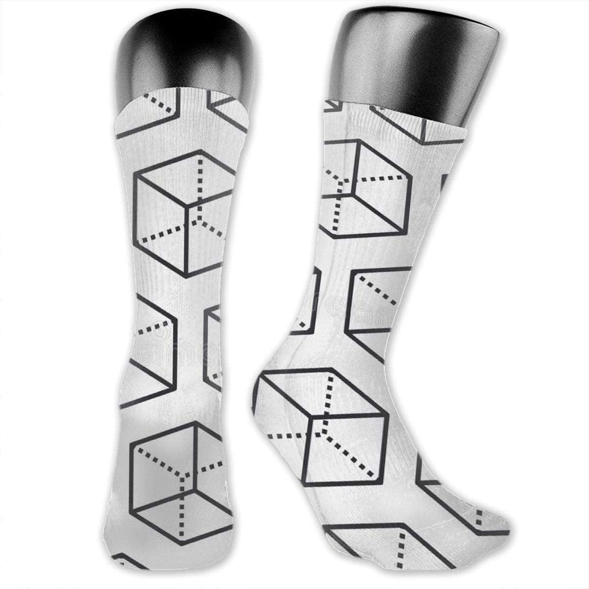 Fdeskaw 3d Math White Cube Black Frame Geometry Graphics Crazy Design Soft & Stretchy Novelty Crew Socks For Men, Women & Kids