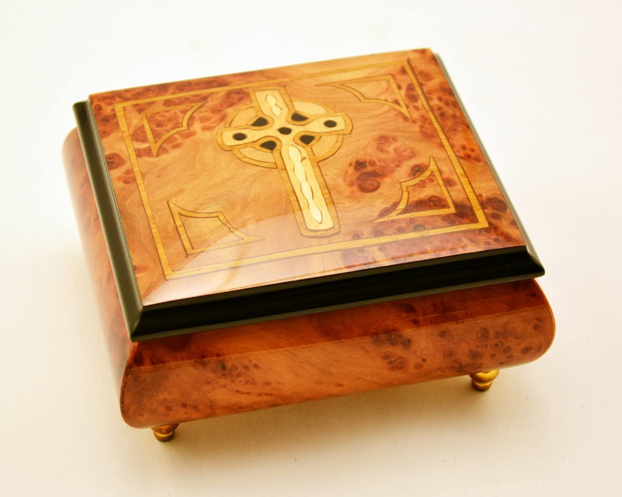 Made in Italy Sorrento Inlaid Celtic Cross Music Box - Clair De Lune (Sankyo 18-Notes)