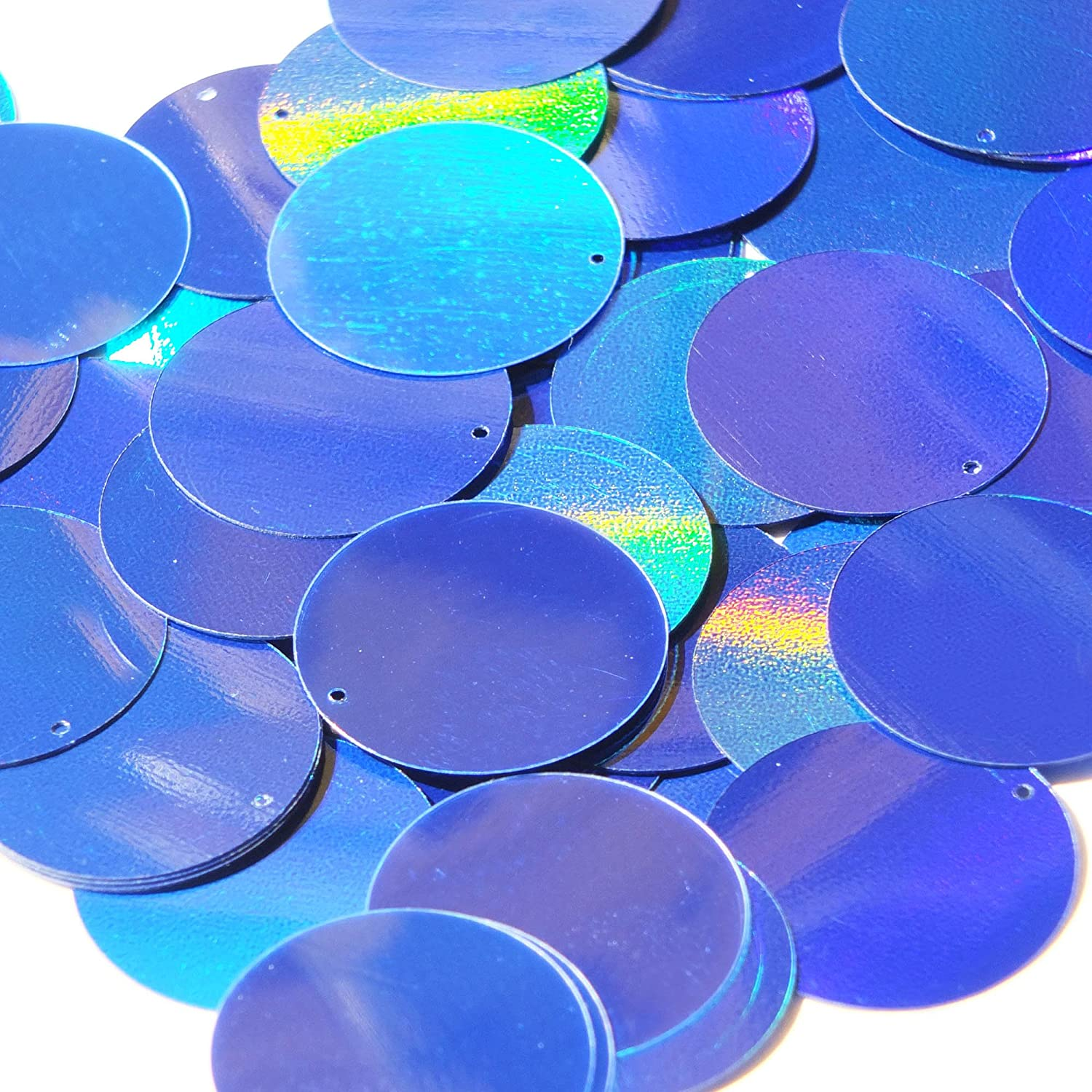 Blue Lazersheen Round 40mm Couture Sequin Paillettes. Made in USA. Loose sequins for embroidery, bridal, applique, arts, crafts, and embellishment.