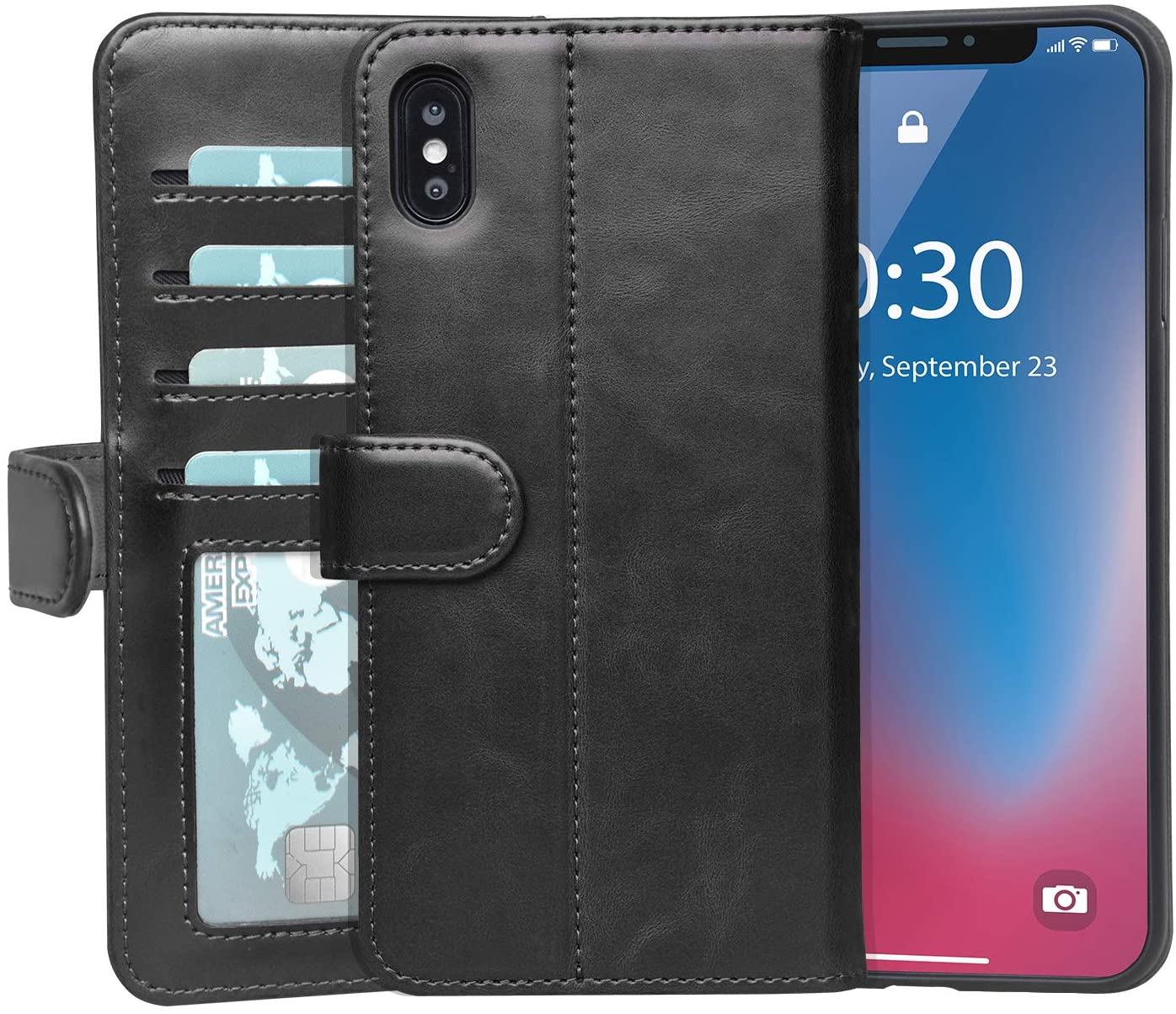 JOYSIDEA iPhone Xs Max Leather Wallet Case, Premium PU Leather Flip Folio Cover with 4 Credit Card Holders, 2 Note Pockets and Kickstand for Apple iPhone Xs Max 6.5 inch – Black