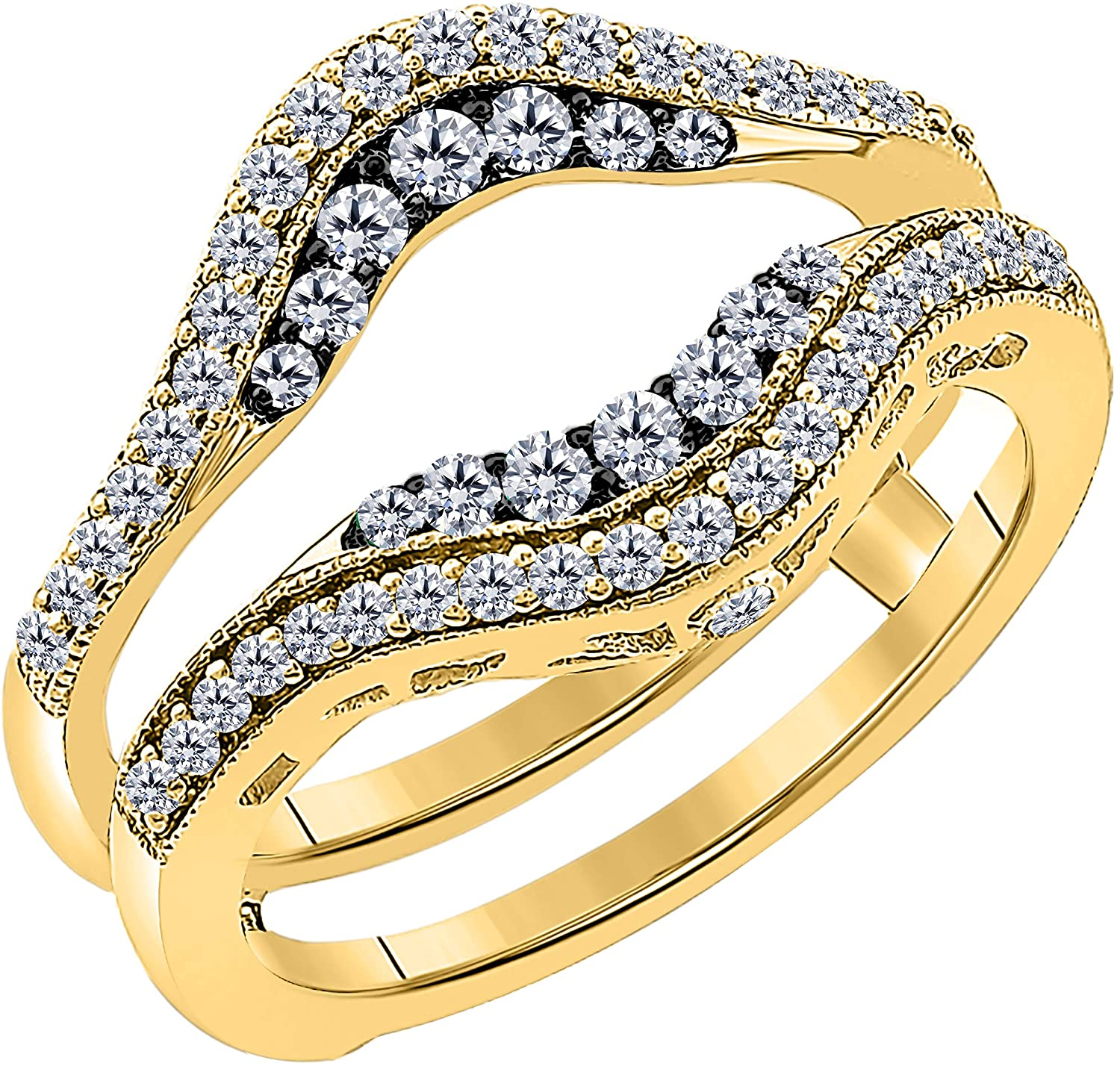 Womens 14k Yellow Gold Plated in 925 Sterling Silver Double Row Pave Set 0.50 ctw Cubic Zirconia Round Wedding Band Solitaire Enhancer Guard Wrap Ring