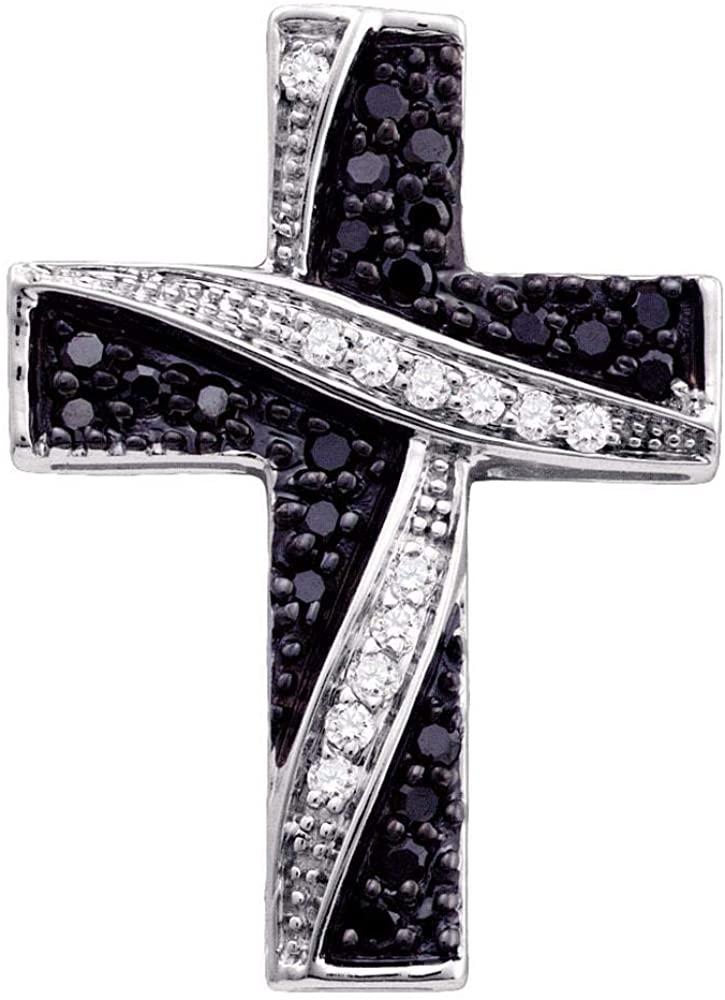 Solid 14k White Gold Black Diamond Cross Crucifix Charm Pendant 1/4 Ct.