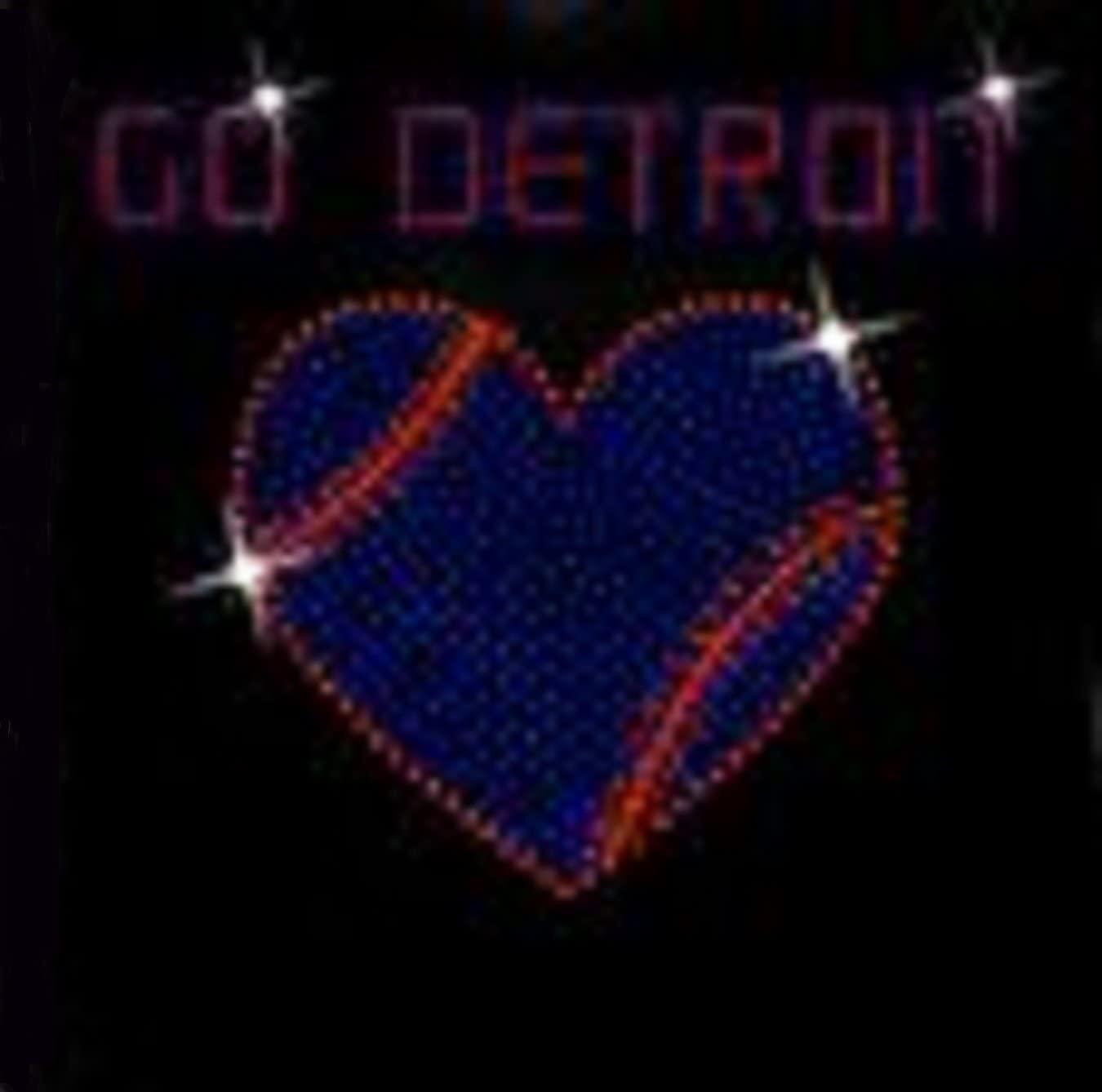 Detroit Heart Baseball Rhinestone Iron on Transfer