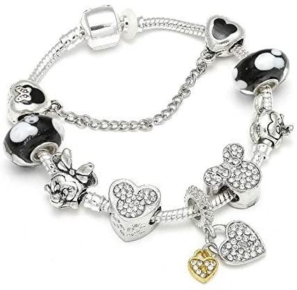 MIADEAL Mickey Mouse Charms Bracelet, Pandora Compatible, Girls Kids DIY Jewelry