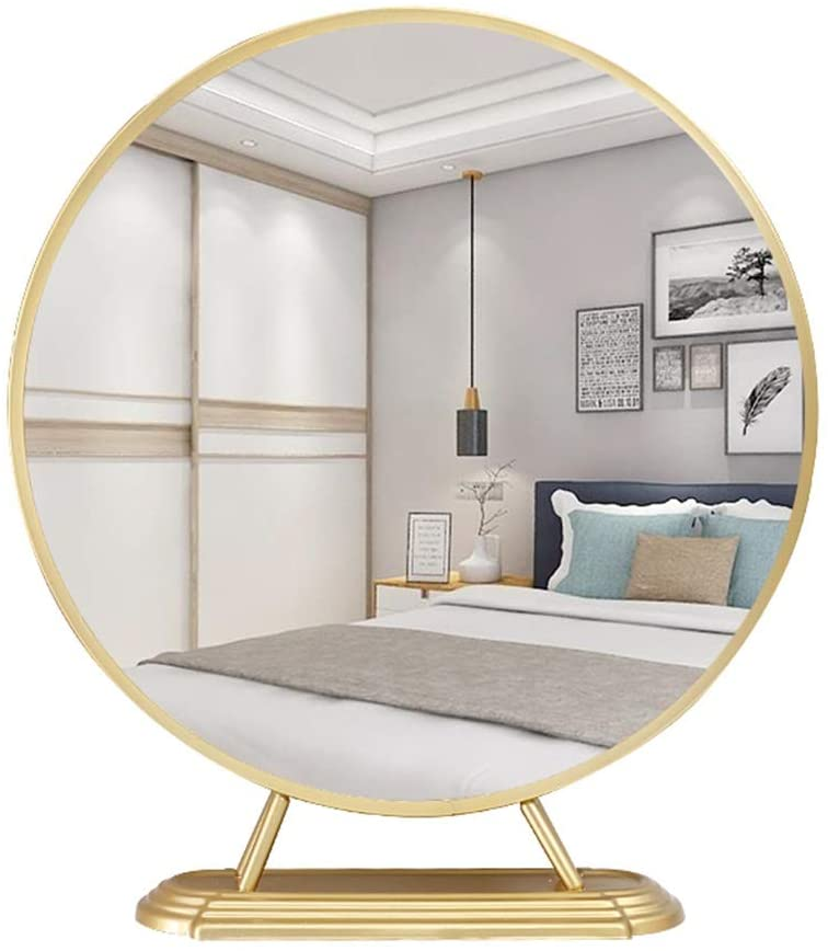 WXF Countertop Cosmetic Mirror, Finishing HD Touchscreen LED Light Smart Design Vintage Simple Style for Home Bedroom (Color : High Foot, Size : 40cm)