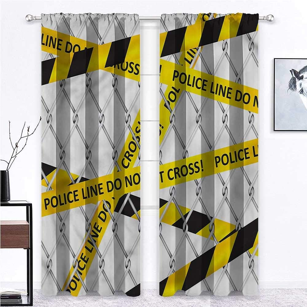 GugeABC Patio Door Curtains Police for Living/Bedroom Room Patio Door Crime Scene Bands 72 x 72 Inch (2 Panels)