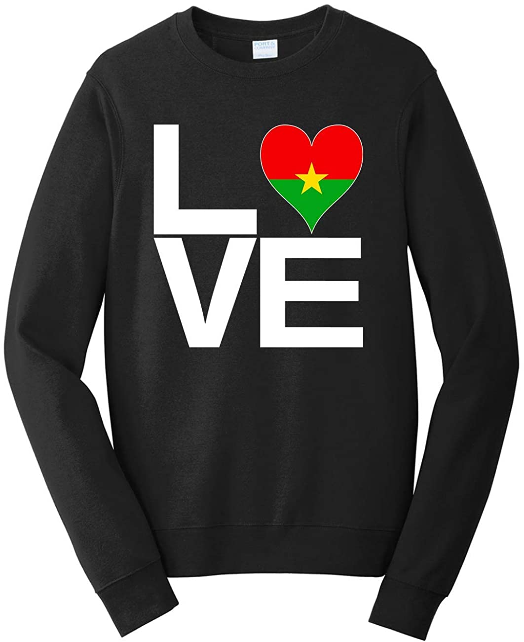 Tenacitee Men's Love Block Burkina Faso Heart Sweatshirt