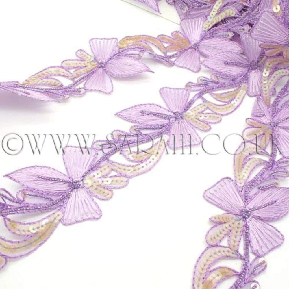Lilac Floral Sequin Trim - Sarahi.NYC
