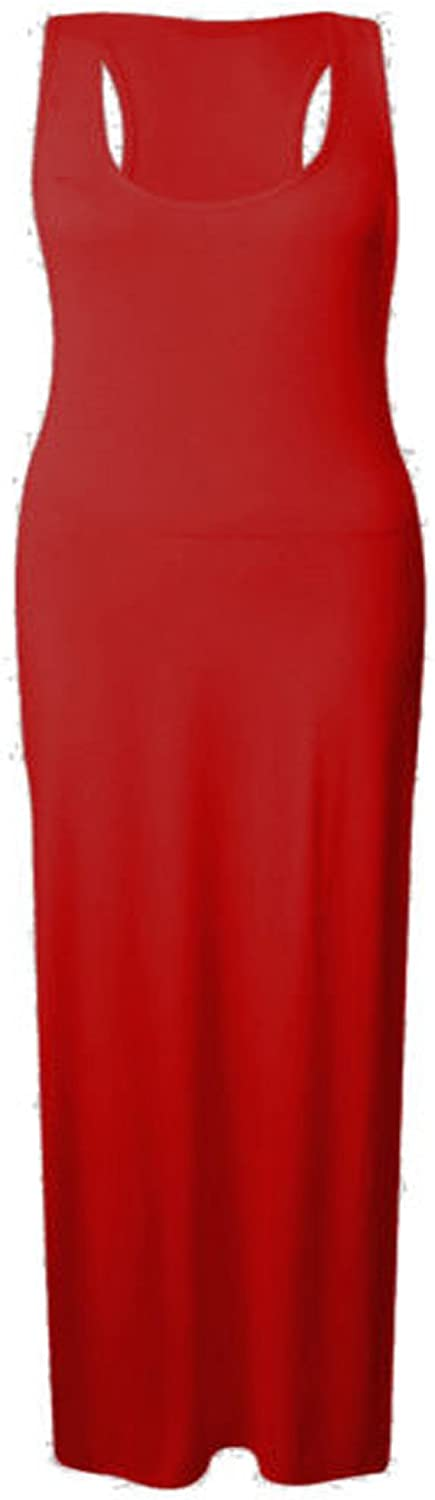 New Womens Plus Size Racer Back Maxi Dress Muscle Vest Jersey Maxi Dress (22, Red)
