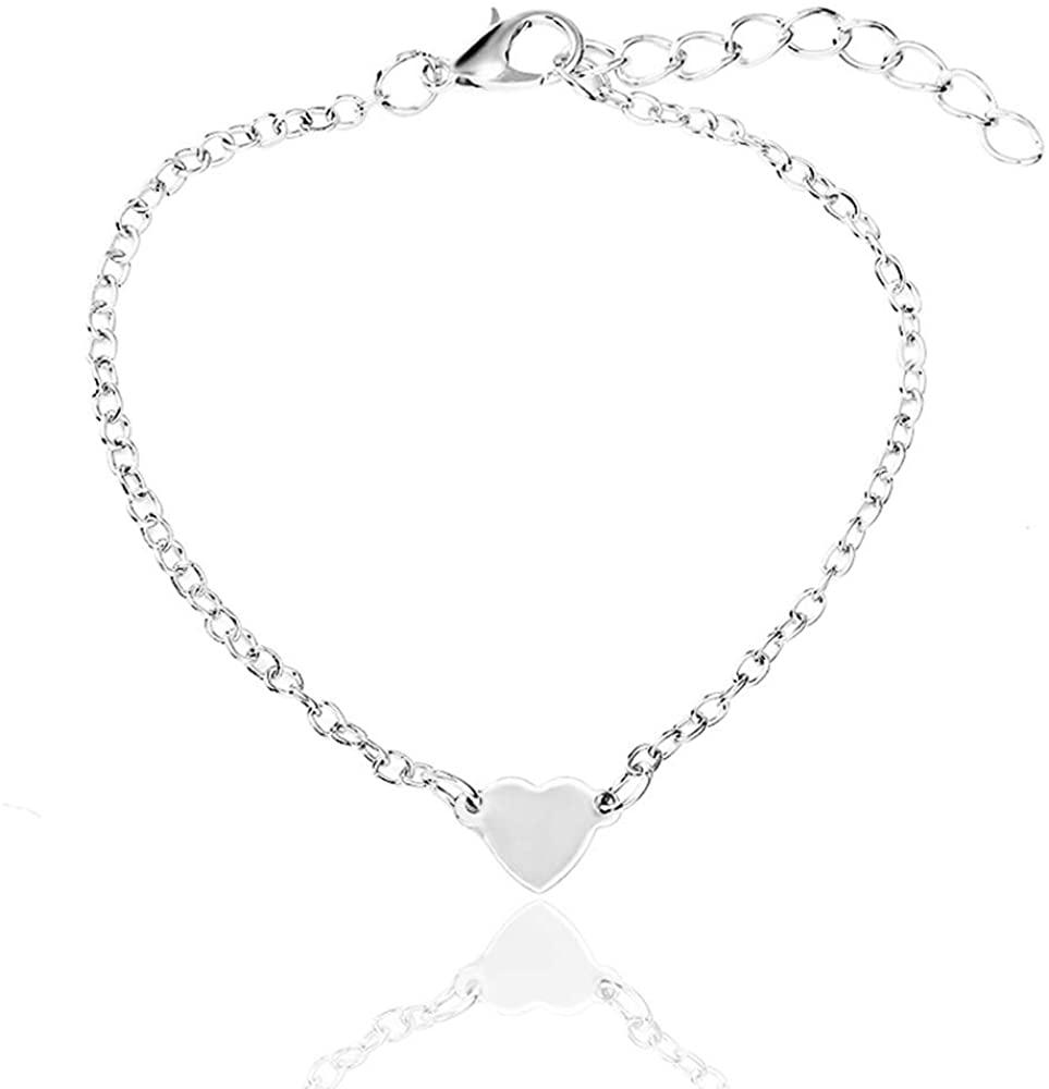 Simple Heart-Shaped Love Heart Bracelet Fashion Geometric Metal Elements Female Jewelry