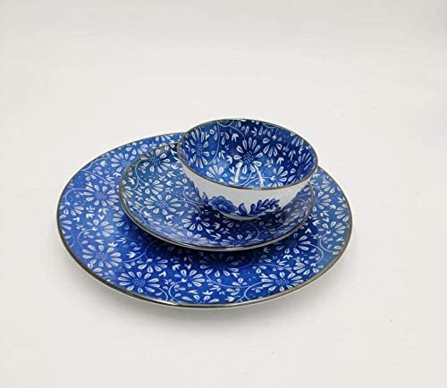 Rang Resha Adorable Design Ceramic Plate and Bowl Set in Attractive Hand Drawn Dark Blue Color Pattern.4.75inch Bowl.7.5inch Plate.10.5inch Plate