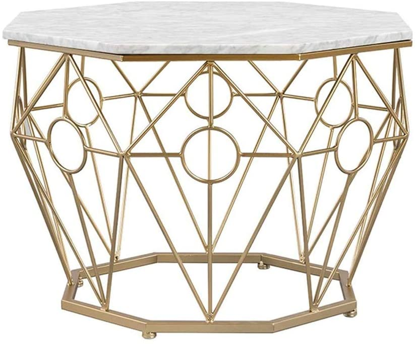 CHENJIU Octagonal Iron Coffee Table, Suitable for Living Room Balcony, Artificial Marble 6745cm