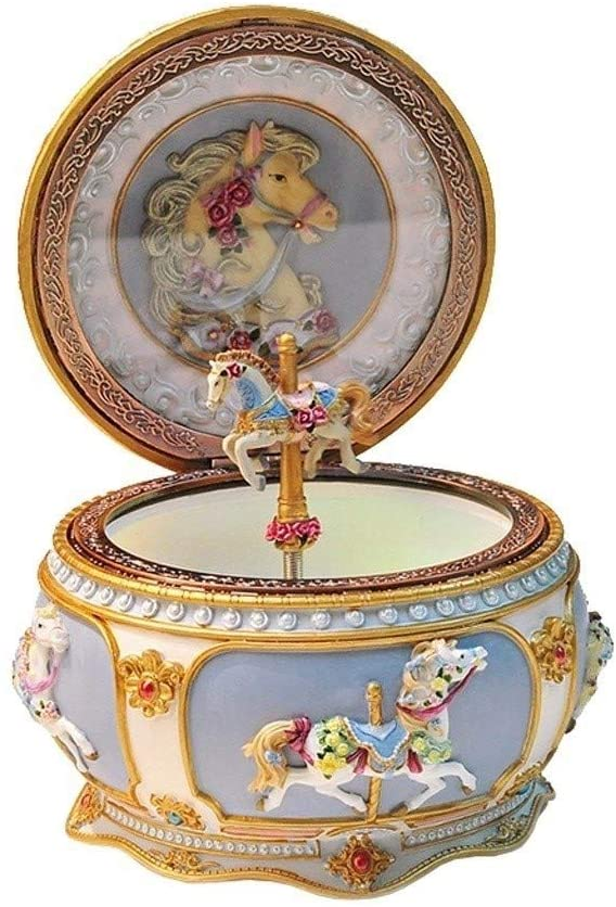 Musical Boxes & Figurines European Carousel Hand Carved Music Box LED Rotating Music Box Jewelry Storage Box Valentine's Day Birthday Gift Music Boxes (Color : Cannon)