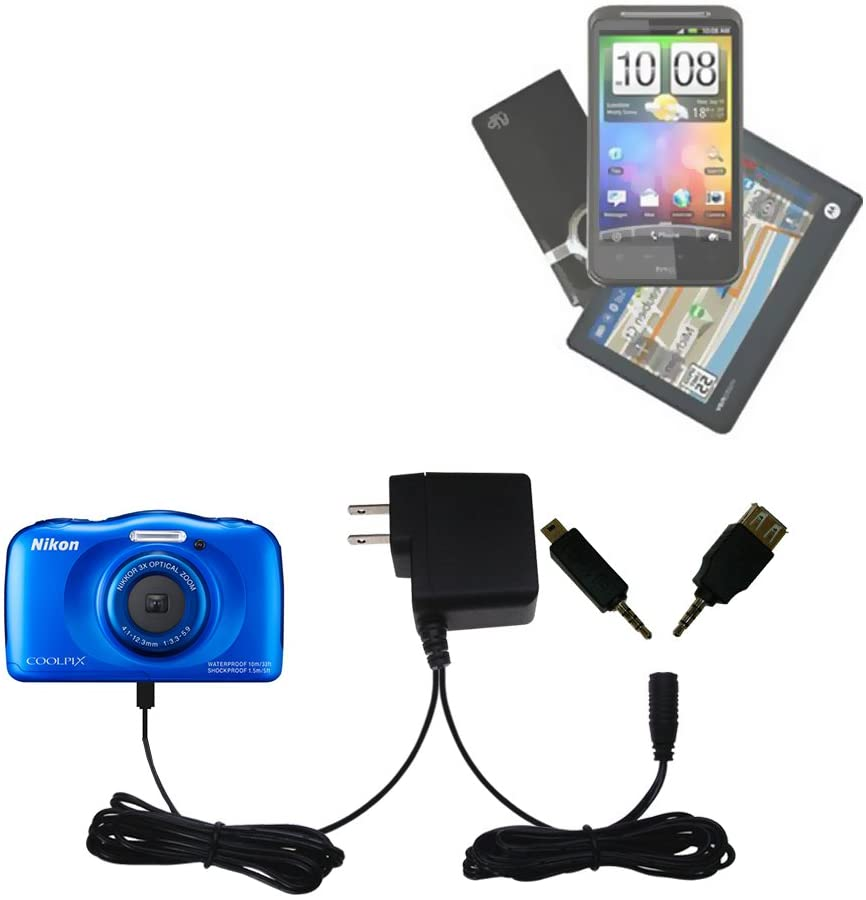 Gomadic Multi Port AC Home Wall Charger designed for the Nikon Coolpix S33 - Uses TipExchange to charge up to two devices at once