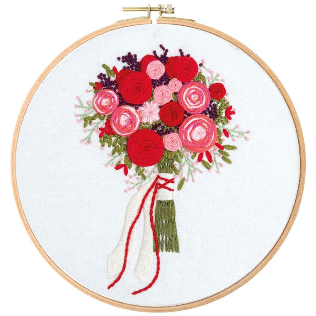 Diy Embroidery Starter Kit With Plant Flower Pattern Bamboo Embroidery Hoop Gift