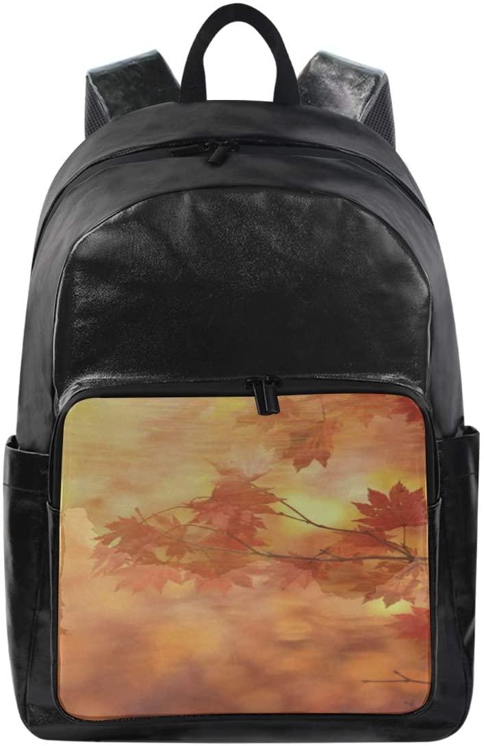 Women/Men Canvas Backpack Autumn Fall Leaves Bookbag College School Shoulder Bag Travel Rucksack