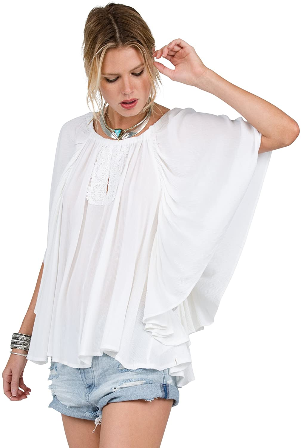 Volcom Junior's Red Eye Off Shoulder Butterfly Sleeve Blouse Top