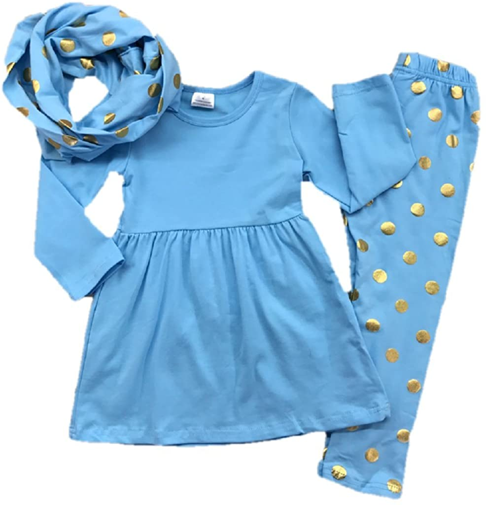 Baby Girl Toddler Outfit Tunic Scarf Leggings Infant Kids Clothing Blue Gold Dot Boutique Set