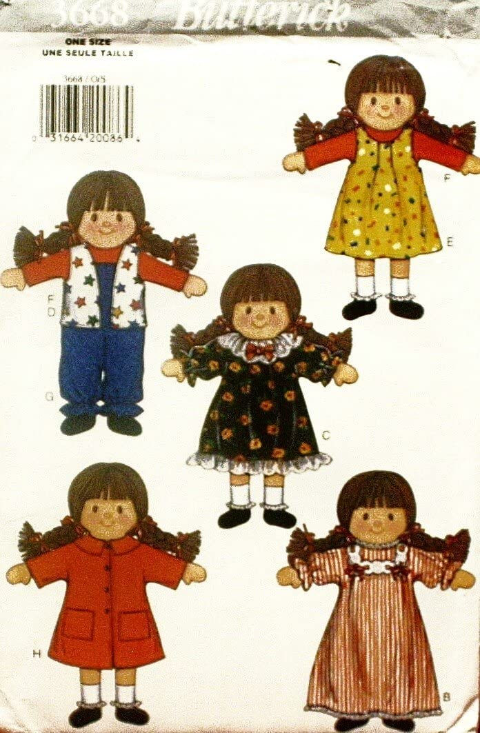 Butterick 3668 Doll, Clothes and Carrying Case Pattern