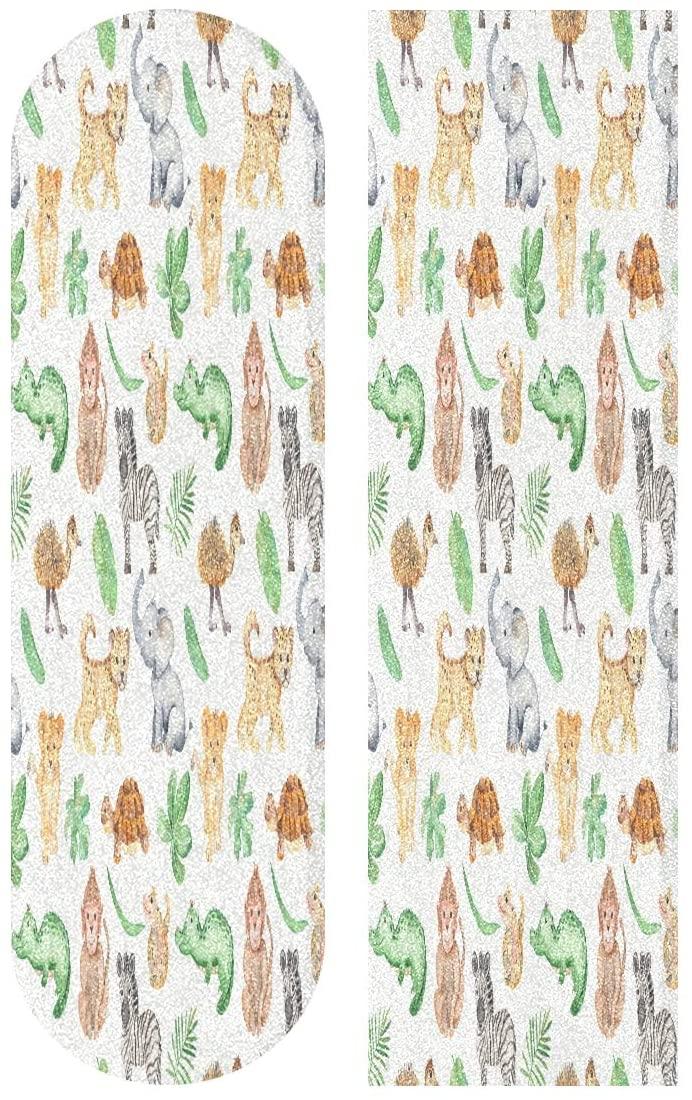 Ladninag 33 x 9 inch Skateboard Grip Tape Sheet Watercolor Cute Cartoon Africa Animals Fearless Bubble Free Skateboard Longboard Griptape Sand Paper Non-Slip