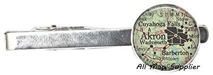 AllMapsupplier Charming Tie Clip Akron,Ohio map Tie Clip Tie Pin,Akron map Tie Clip Tie Pin,Akron map Tie Clip Charm,Fashion map Jewelry,Akron Tie Clip Tie Pin,A0029