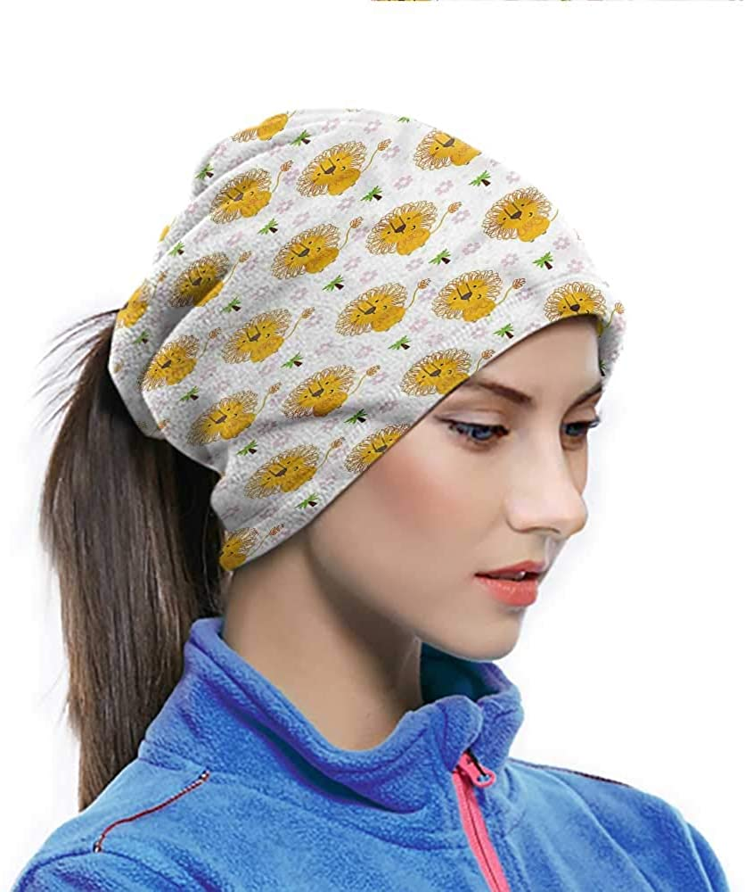 Head Wrap Lion, Palm Trees Flowers Tropical Breathable Neck Cover Great for Early Morning Hiking 10 x 11.6 Inch