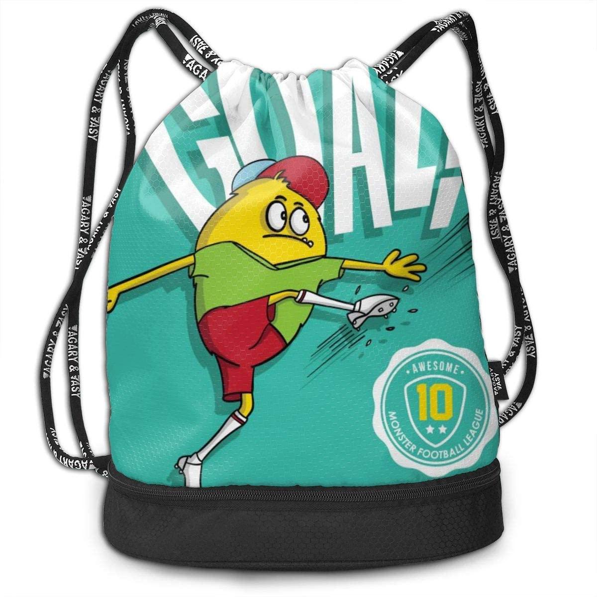 Bundle Backpacks Monster Playing Football Gym Sack Drawstring Bags Casual Daypack Yoga Bag School Training Pouch