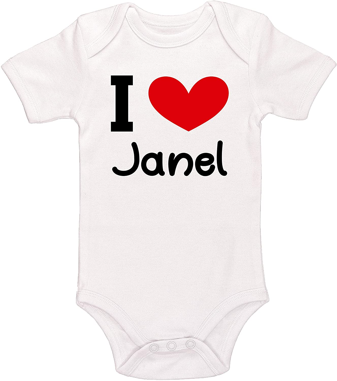 Kinacle I Love Janel Personalized Baby Bodysuit