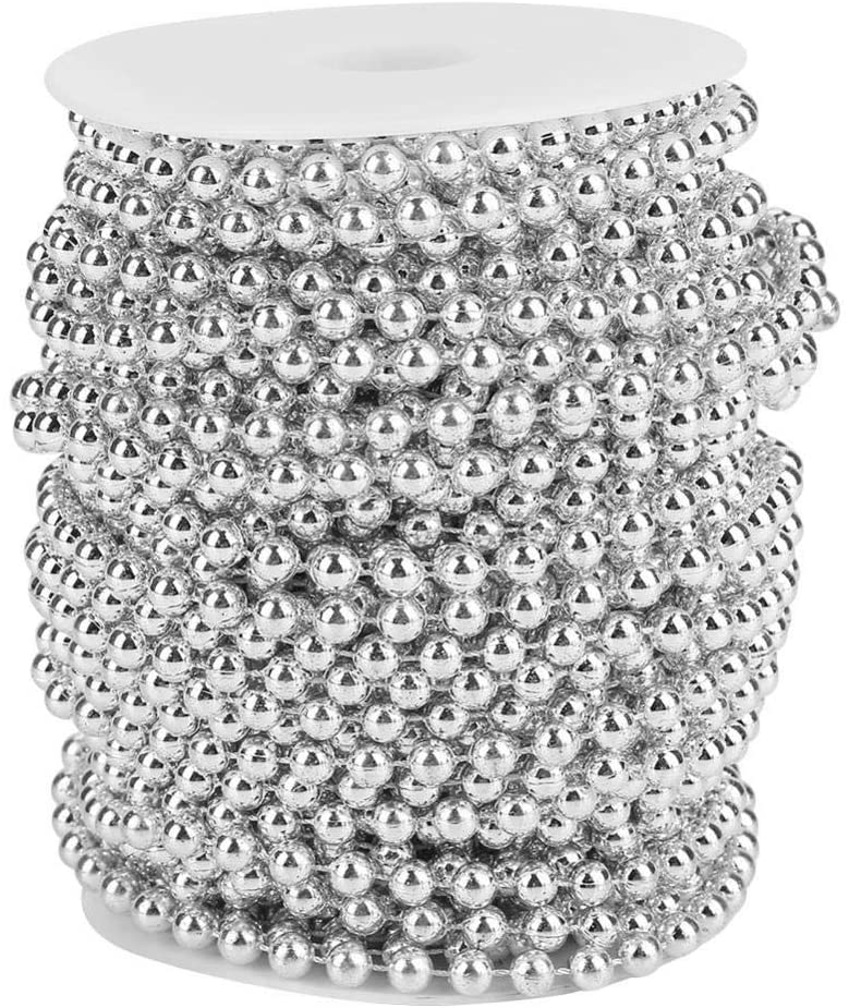 82ft Pearl Beads String, Pearl Garland Beaded Trim, Delicate Decorative Pearls String for Wedding Party Supplies(Silver)