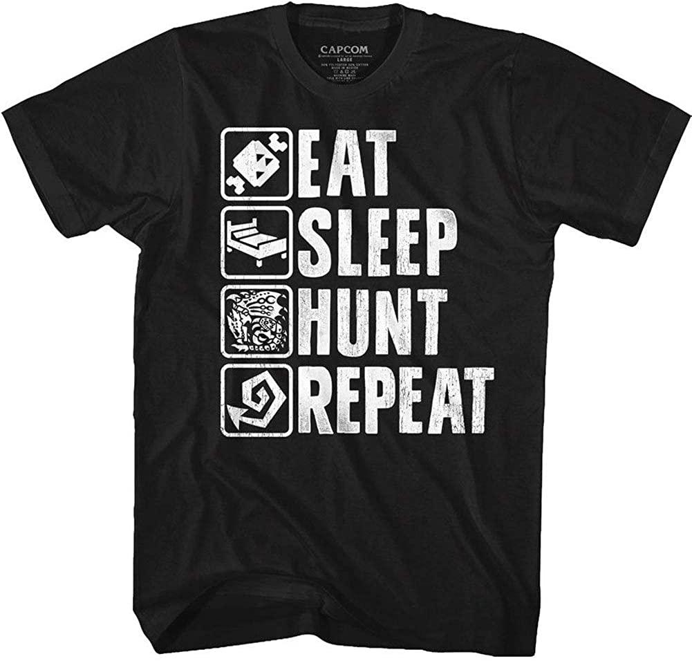 Monster Hunter Video Game Eat Sleep Hunt Repeat Adult T-Shirt Tee