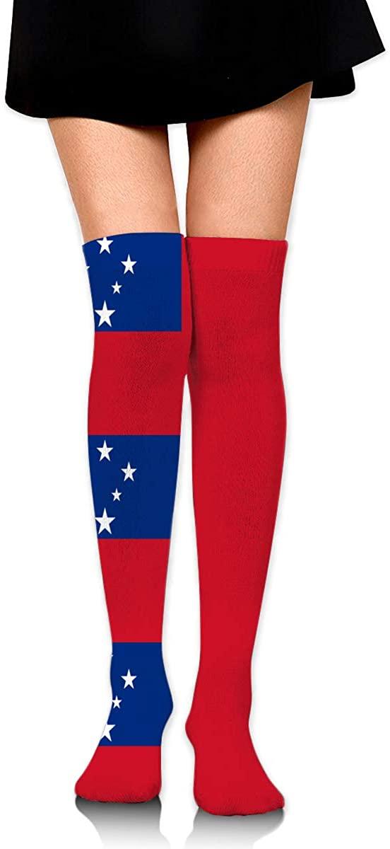 Knee High Socks Samoan Flag Womens Athletic Over Thigh Long Stockings
