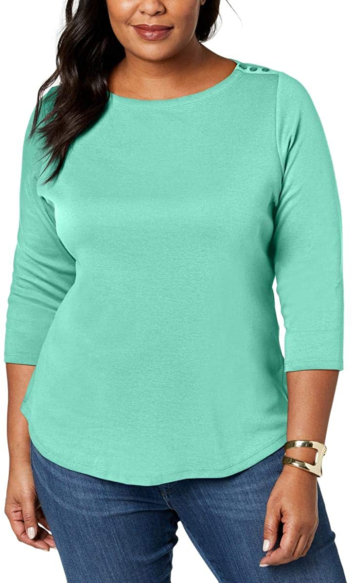 Charter Club Womens Plus Boot Neck Pullover Casual Top