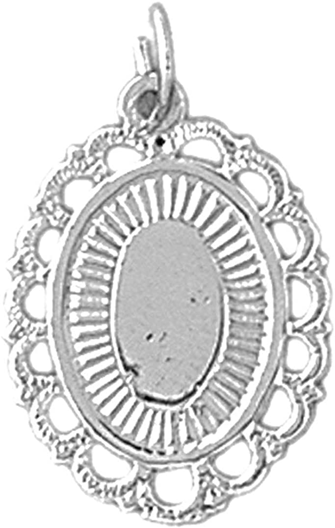 Jewels Obsession 14K White Gold Hand-cut Engravable Plate Pendant - 23 mm