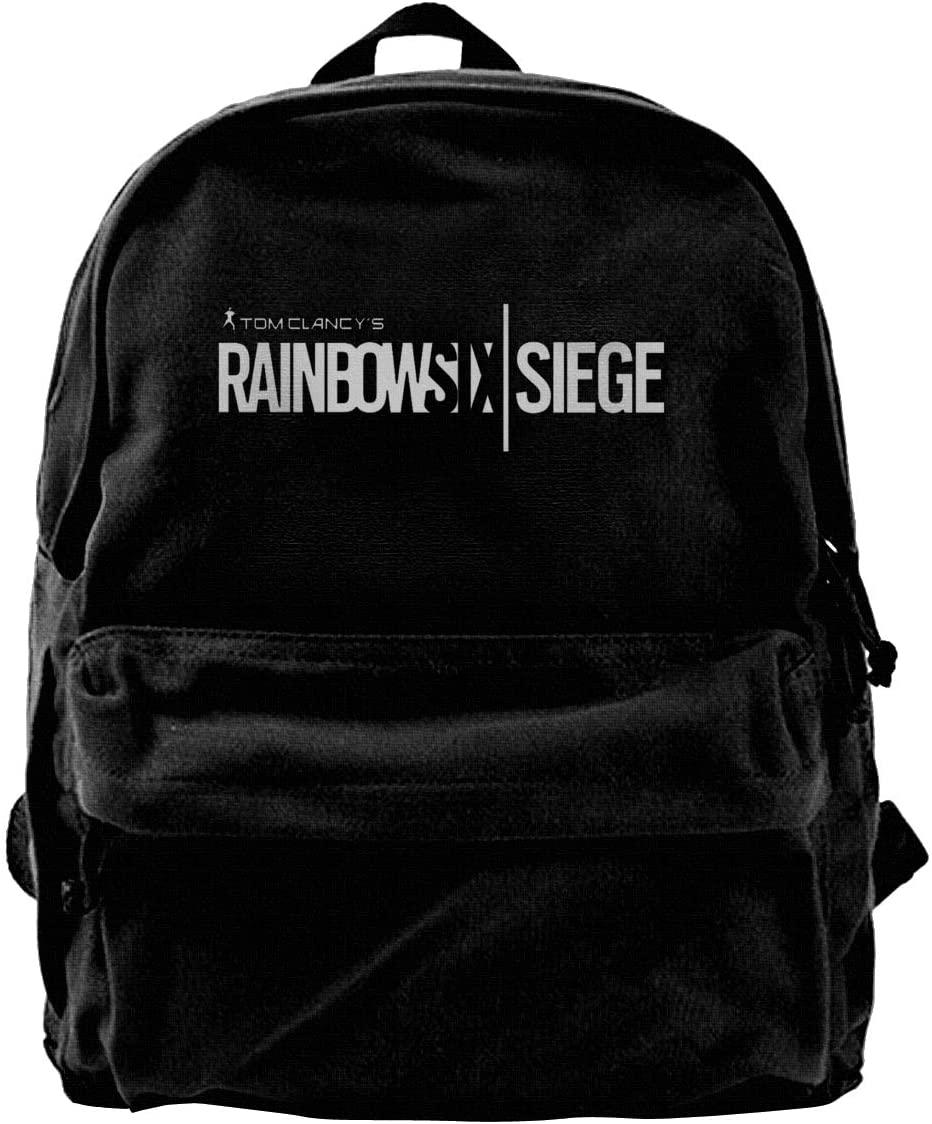 Rainbow Six Siege Logo Canvas Backpack School Laptop Bag Hiking Travel Rucksack Black Unisex Daypack