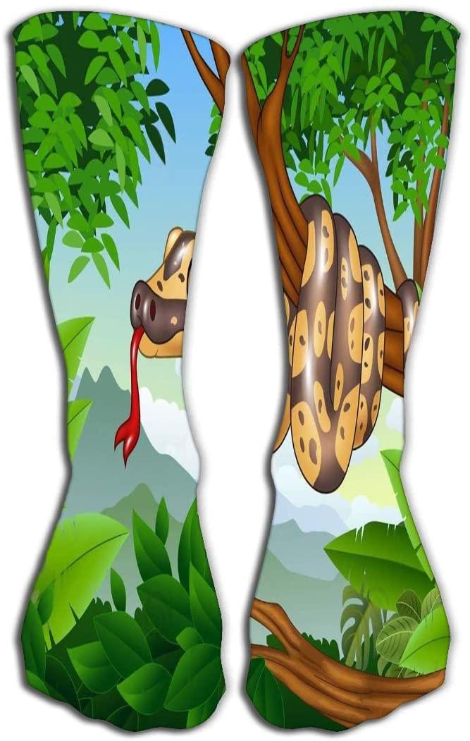 YILINGER Mens Women Girls Novelty Funny Crew Socks 19.7(50cm) Cartoon Royal Python Snake Creeping Branch Simple