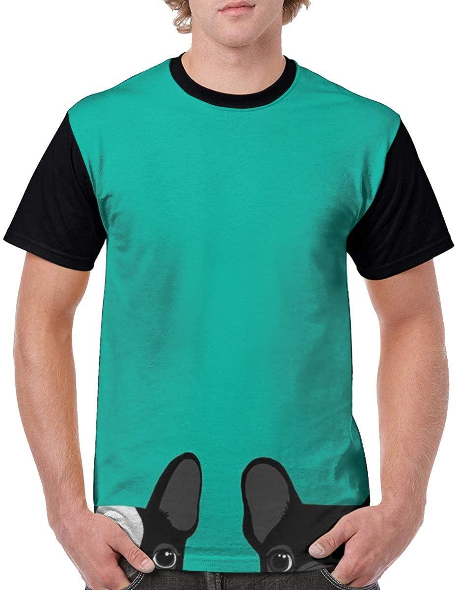 Qiazooa Summer Fashion Men Cool Short Sleeve Printed Tops Casual T Shirt Crew Neck Tshirts French Bulldog